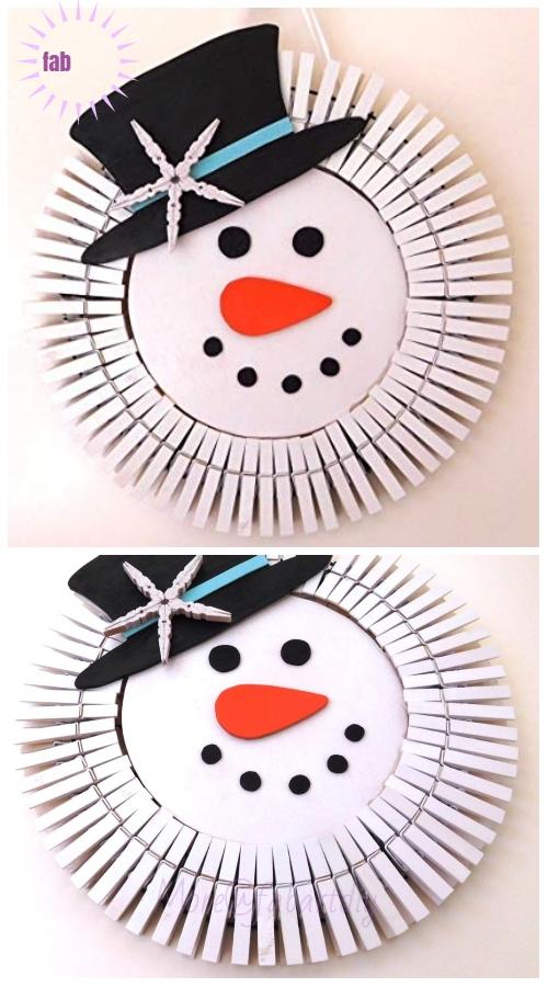 Clothespin Christmas Wreath DIY Tutorials -Clothespin Snowman Christmas Wreath Inspiration