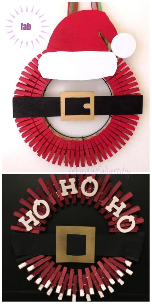 Clothespin Christmas Wreath DIY Tutorials -Clothespin Santa Christmas Wreath Inspiration