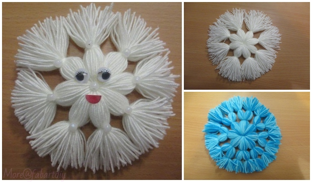 Christmas Craft: Yarn Thread Snowflake DIY Tutorial - No Crochet