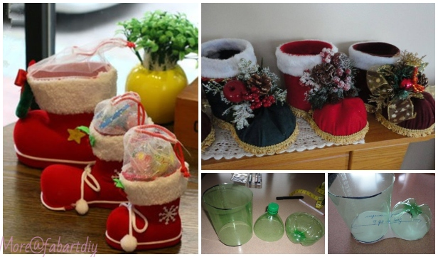 Christmas Crafts: DIY Plastic Bottle Santa Boots Holder Tutorial - Video