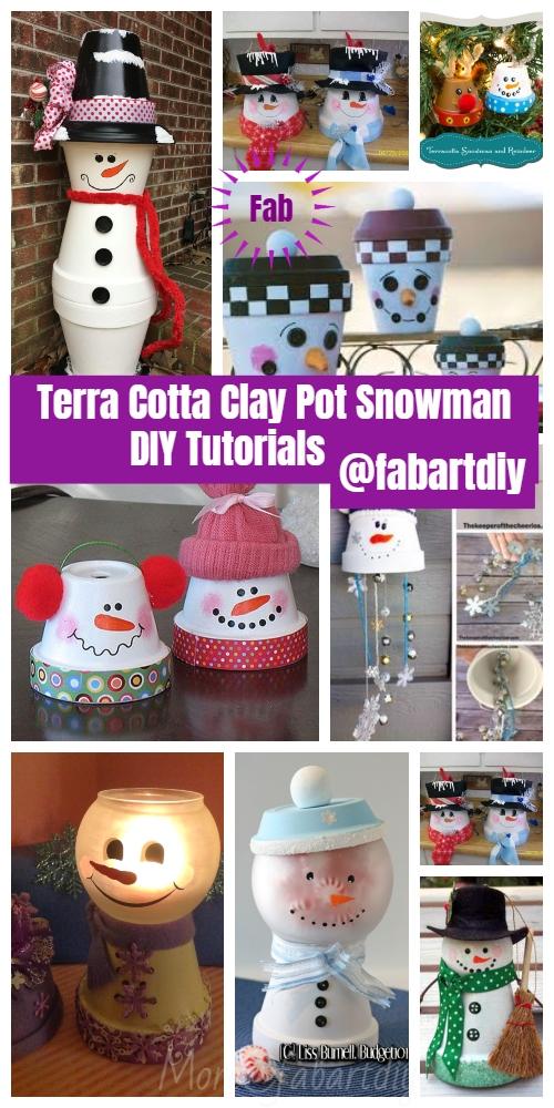 Christmas Crafts: Terra Cotta Clay Pot Snowman DIY Tutorials - Snowman Light or Candy Dish