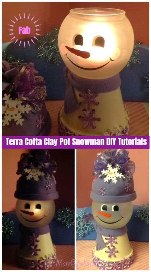 Christmas Crafts: Terra Cotta Clay Pot Snowman DIY Tutorials - Snowman Light or Candy Dish