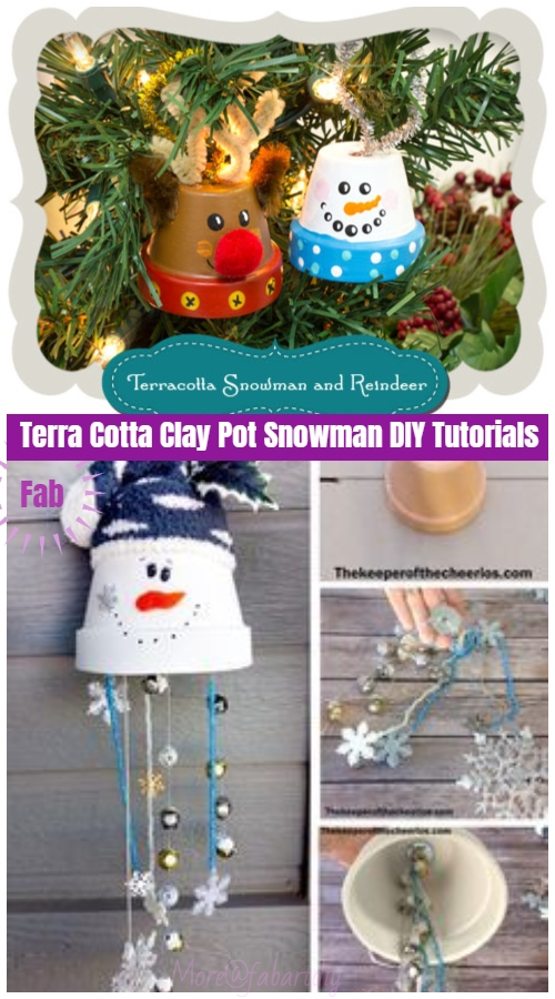Christmas Crafts: Terra Cotta Clay Pot Snowman DIY Tutorials - Hanging Snowman Ornament