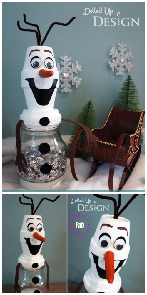 Christmas Crafts: Terra Cotta Clay Pot Snowman DIY Tutorials - Frozen Olaf Snowman Treat Jar DIY Tutorial