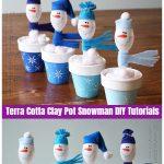 Christmas Crafts: Terra Cotta Clay Pot Snowman DIY Tutorials -Plastic Spoon Snowman in Clay Pot