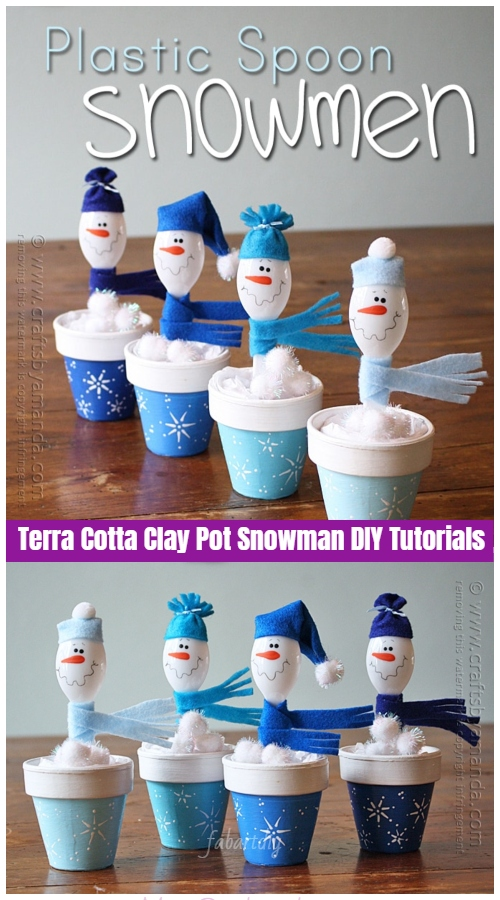 Christmas Crafts: Terra Cotta Clay Pot Snowman DIY Tutorials - Plastic Spoon Snowman in Clay Pot