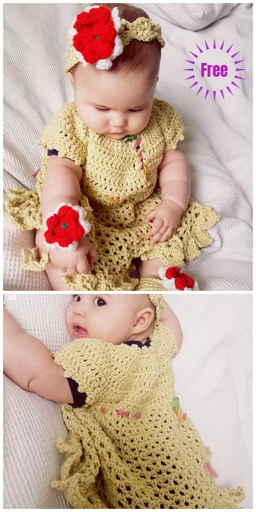 Christmas Crochet Baby Little Sweetie Dress & Headband Free Crochet Patterns
