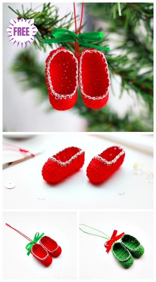 Christmas Crochet Mini Slippers Ornament Free Crochet Pattern - Video