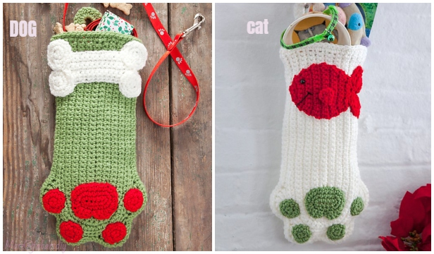 Christmas Crochet Paw Stocking Free Crochet Patterns