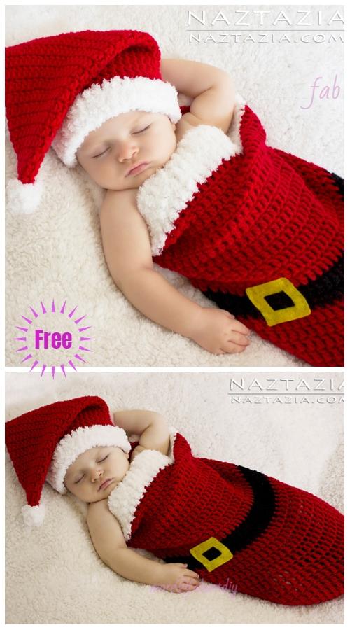 Christmas Crochet Santa Baby Cocoon Hat Set Free Crochet Pattern