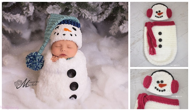 Crochet Newborn Snowman Hat, Scarf, and Cocoon Crochet Pattern