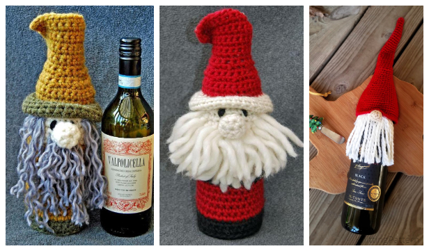 Christmas Gnome Bottle Cozy Free Crochet Patterns