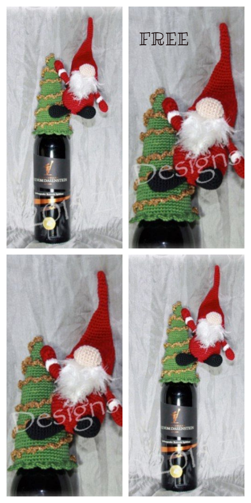 Christmas Gnome Bottle Topper Cozy Free Crochet Patterns