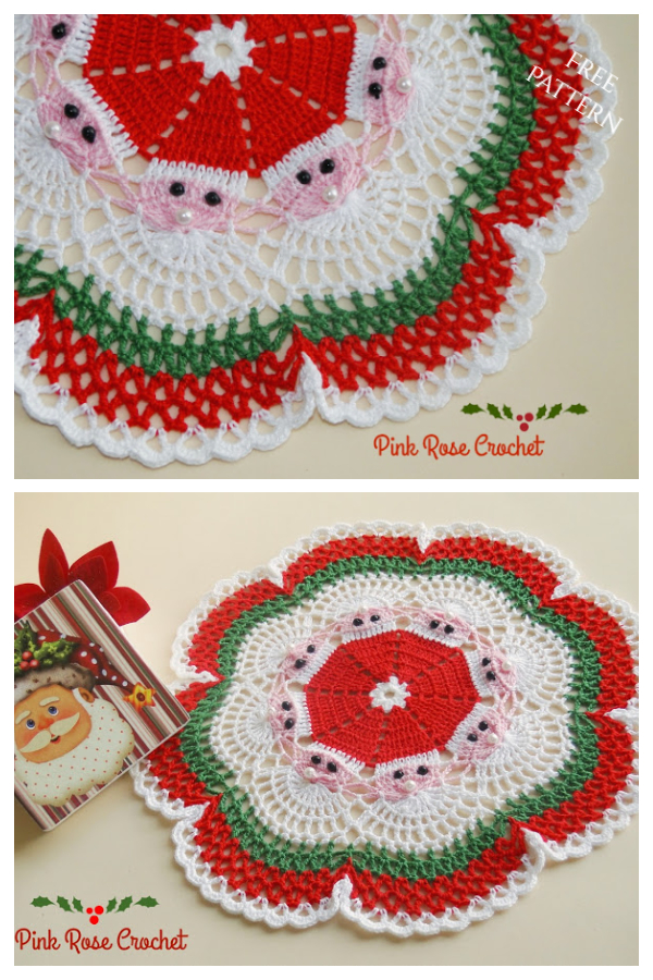Christmas Santa Doily Free Crochet Patterns