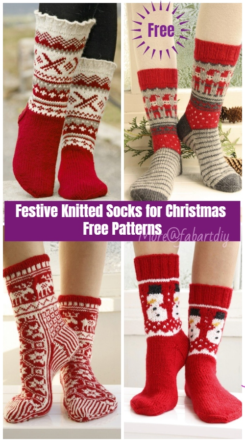 Christmas Socks Free Knitting Patterns