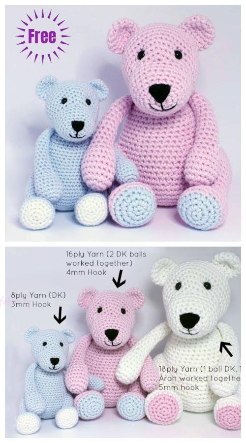 Crochet The Three Bears Toy Plushie Amigurumi Free Patterns