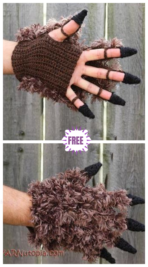 Crochet Beast Costume Gloves Free Crochet Pattern - Video