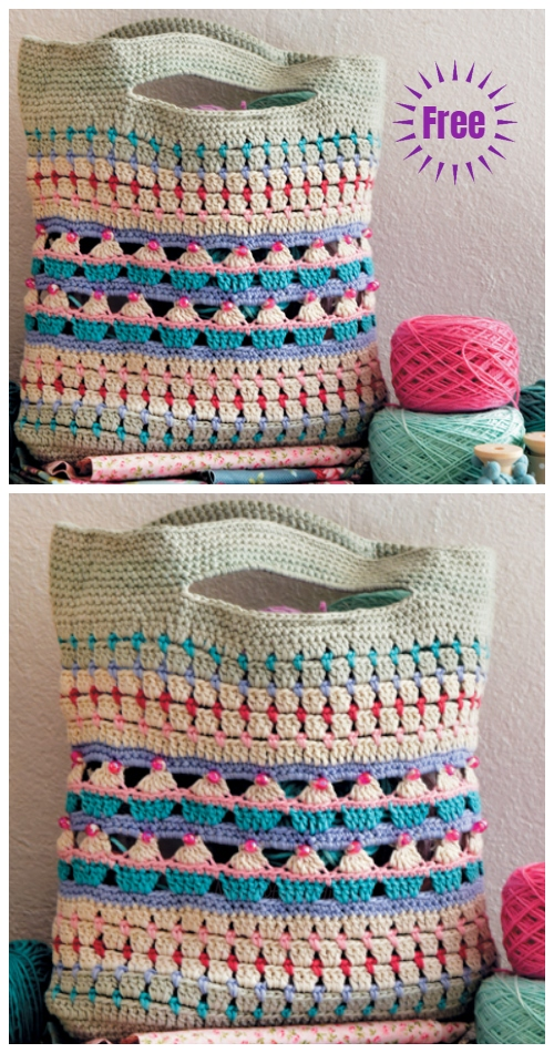 Crochet Cupcake Stitch Muffin Bag Free Crochet Pattern