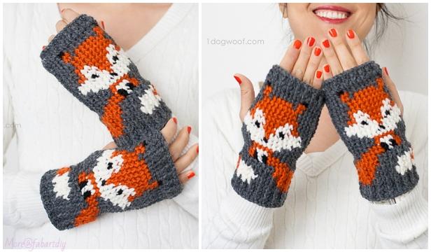 Crochet Fox Fingerless Gloves Free Crochet Patterns
