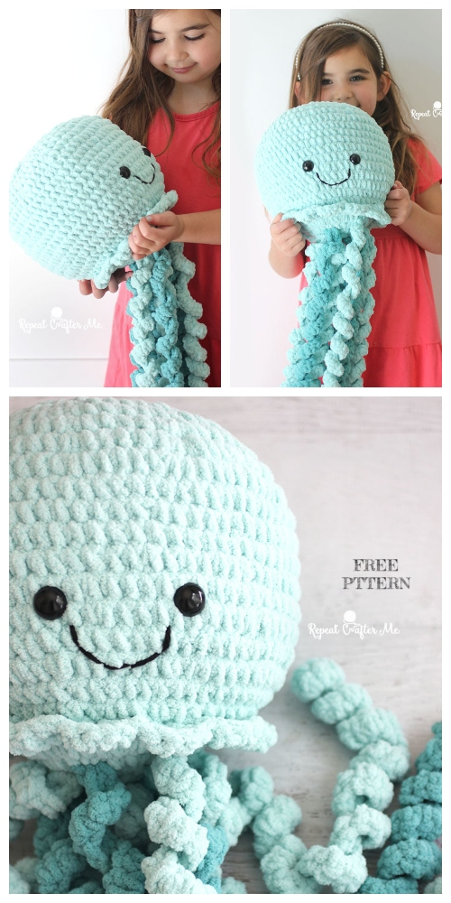 Crochet Giant Jellyfish Toy Amigurumi Free Pattern