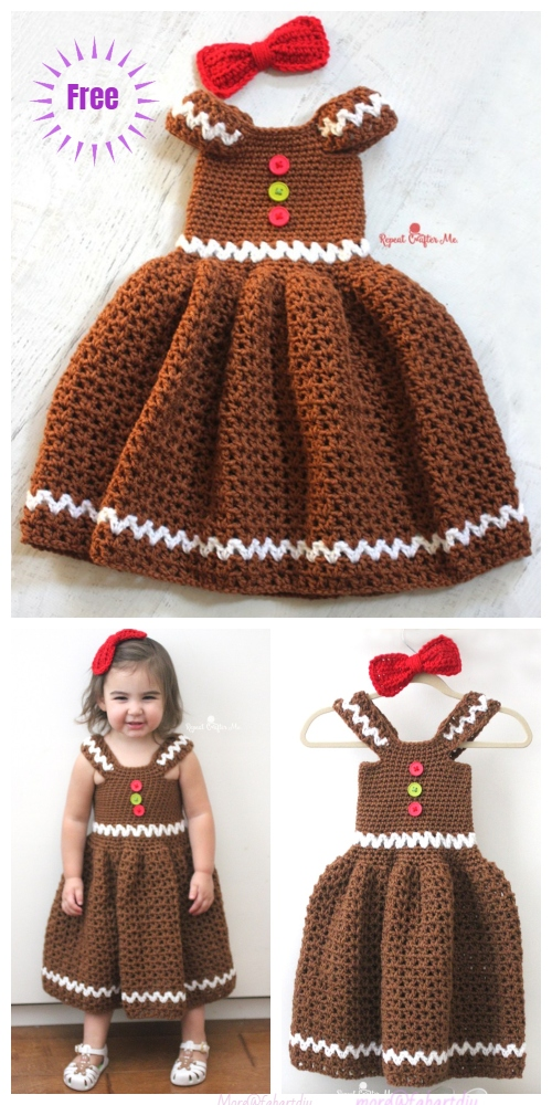 Crochet Gingerbread Girl Dress Free Crochet Pattern