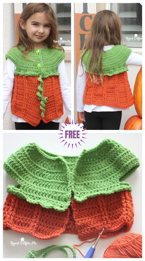 Crochet Girls Pumpkin Sweater Vest Free Crochet Pattern