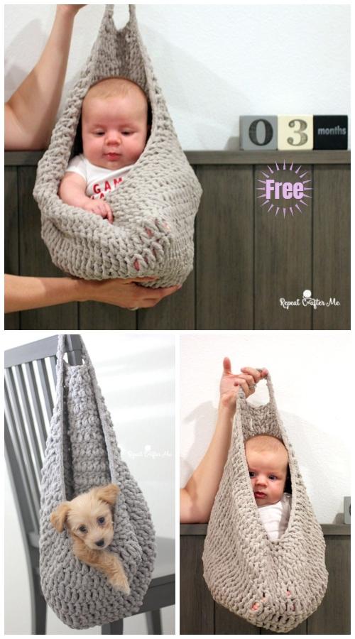 Crochet Hanging Sack Basket Free Crochet Pattern