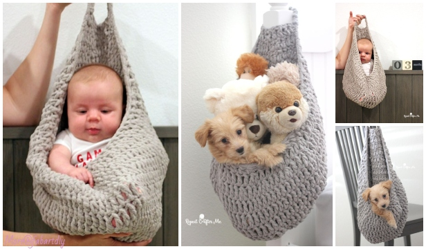 Crochet Hanging Sack Basket Free Crochet Pattern