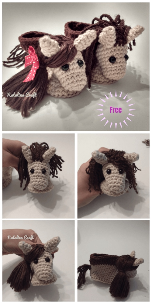 Crochet Horse Baby Booties Free Crochet Pattern