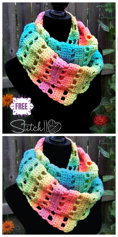 Crochet Jumping Retro Infinity Scarf Free Crochet Pattern