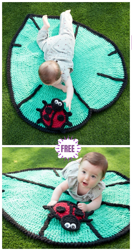 Crochet Leaf Play Mat Ladybug Toy Set Free Crochet Patterns