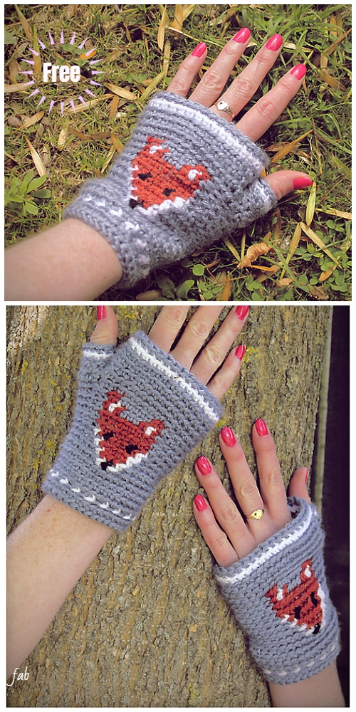 Crochet Mr Fox Fingerless Gloves Free Crochet Pattern