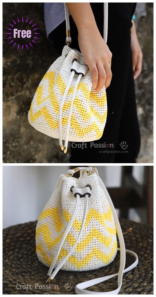 Crochet Raffia Bucket Bag Free Crochet Patterns