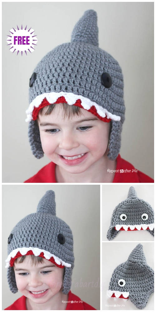 Crochet Shark Hat Free Crochet Patterns