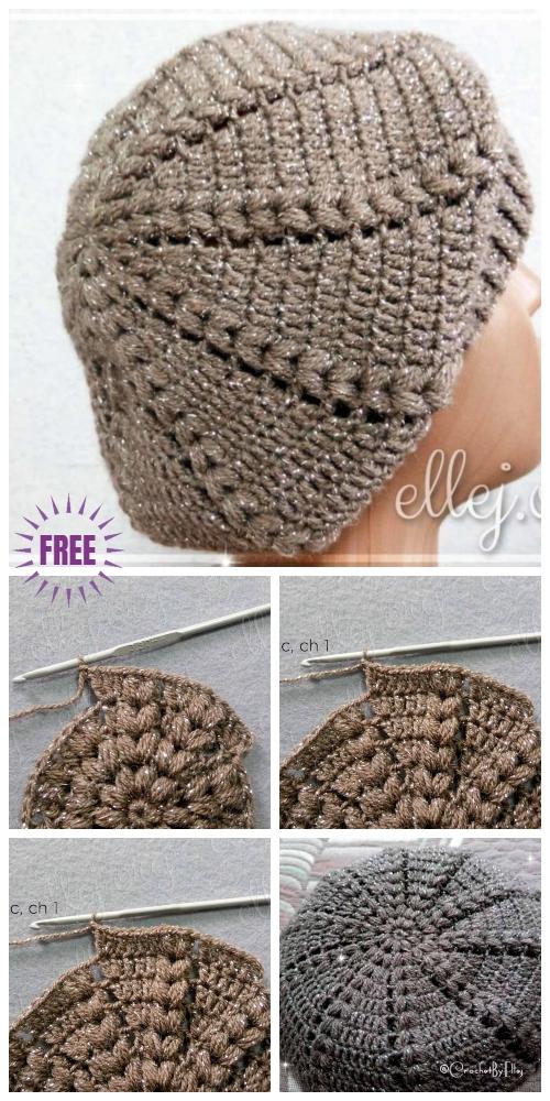 Crochet Easy Sunburst Puff Stitch Beret Hat Free Crochet Pattern