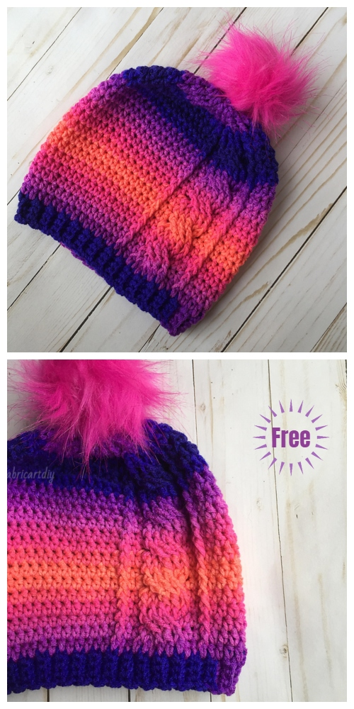 Crochet The Rora Cable Slouch Hat Free Crochet Pattern