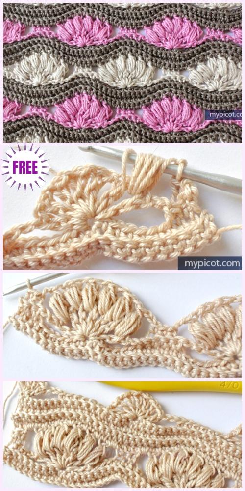 Crochet Wave Puff Shell Stitch Free Crochet Pattern
