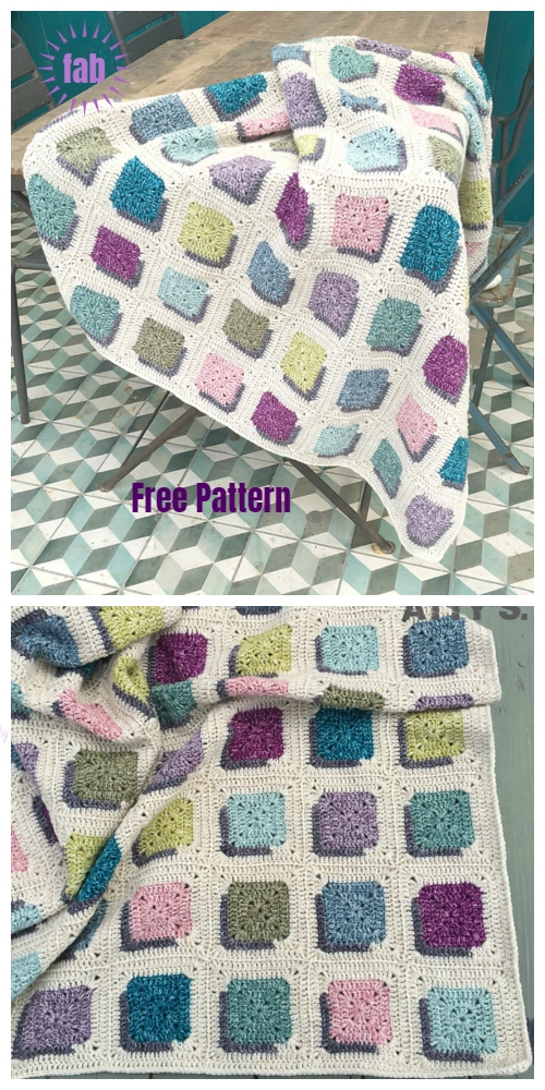 Double A Design Granny Square Blanket Crochet Free Pattern