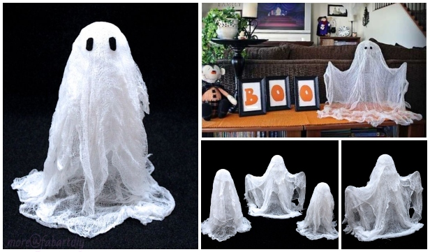 Easy Floating Cheesecloth Ghost DIY Tutorial for Halloween Decor