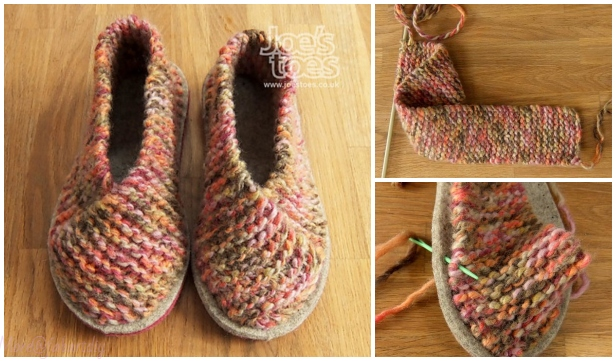 9fca8f996920 Easy Garter Stitch Knit Crossover Slippers Free Knitting Pattern