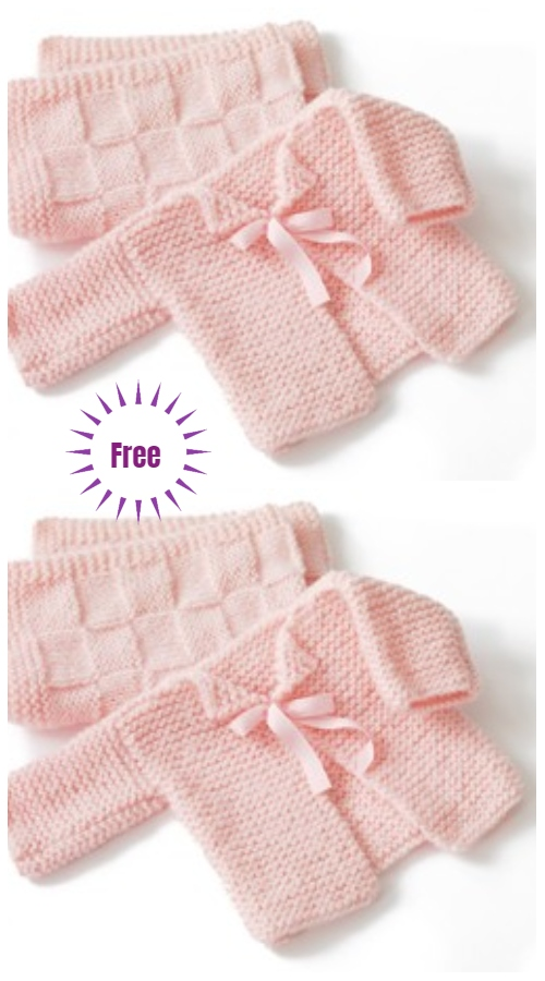 Easy Garter Stitch Sideways Baby Cardigan Free Knitting Patterns