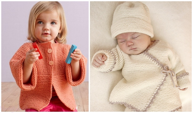 Easy Garter Stitch Sideways Baby Cardigan Free Knitting