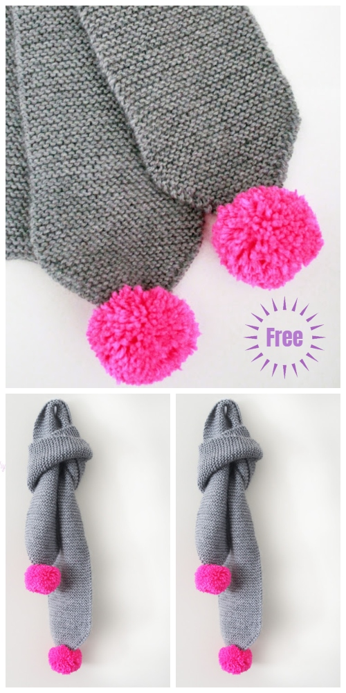 Easy Knit Garter Stitch Pom Pom Scarf Free Knitting Patterns