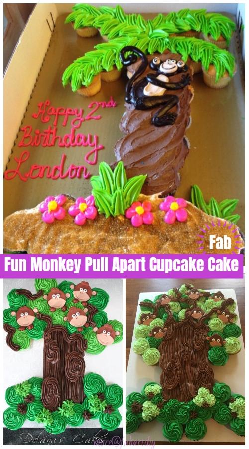 Fun Pull Apart Monkey Cupcake Cake DIY Tutorial