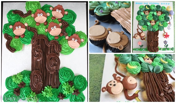 Fun Pull Apart Monkey Cupcake Cake DIY Tutorial