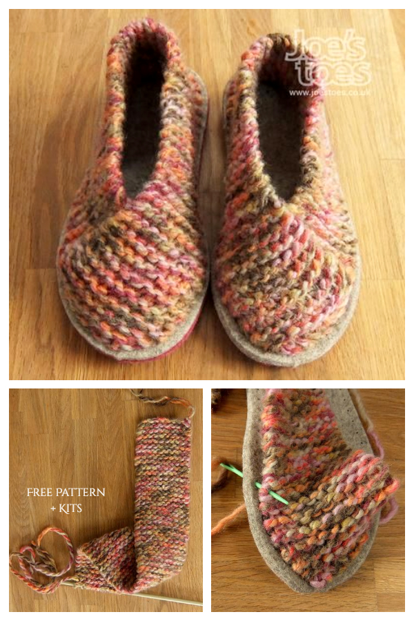 Easy Garter Stitch Knit Crossover Slippers Free Knitting Pattern