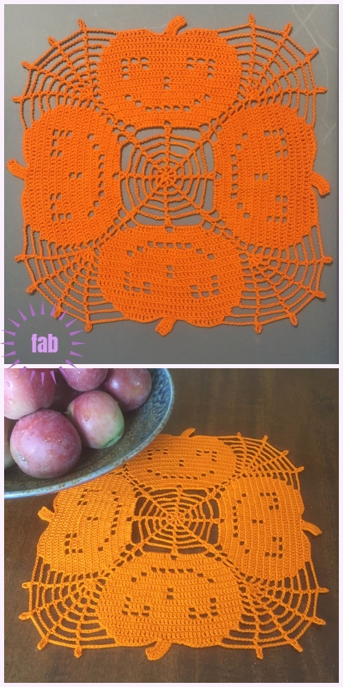 Halloween Crochet  Jack-In-The-Web Pumpkin Doily Free Crochet Pattern