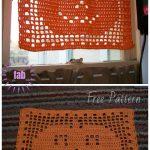 Halloween Filet Crochet PumpkinMatDoily Free Crochet Pattern