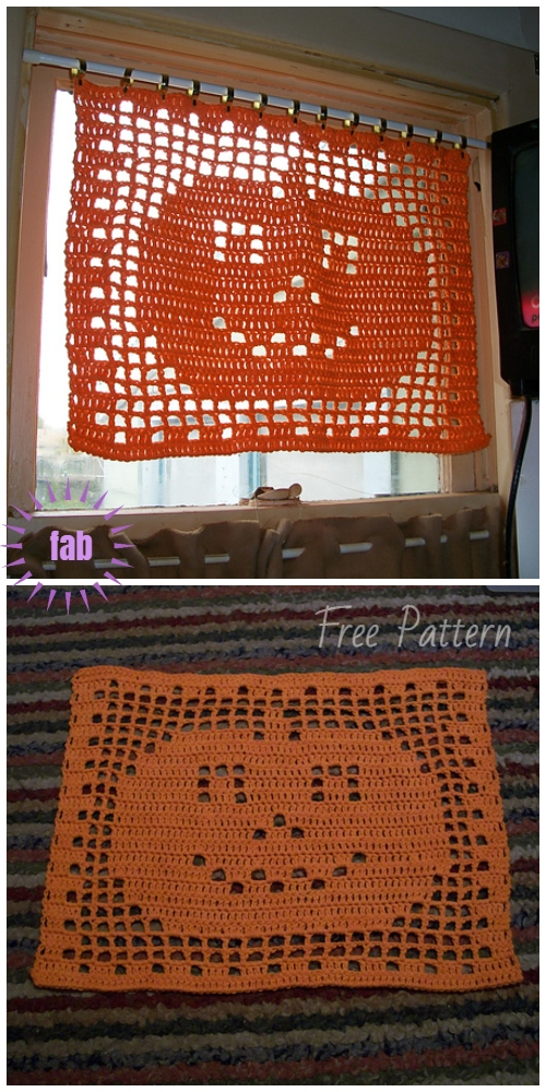 Halloween Filet Crochet Pumpkin Mat Doily Free Crochet Pattern