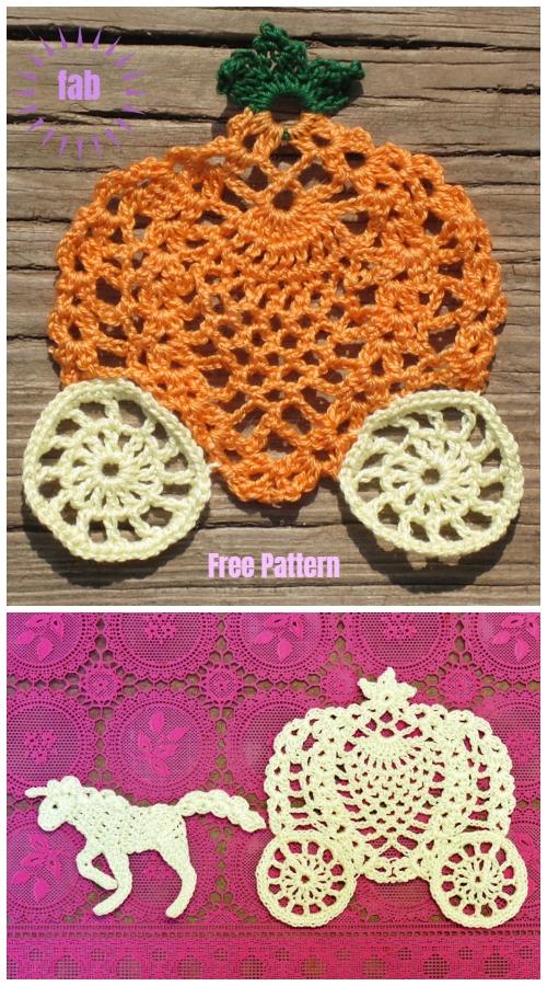 Halloween Crochet Jack-In-The-Web Pumpkin Doily Free Crochet Pattern